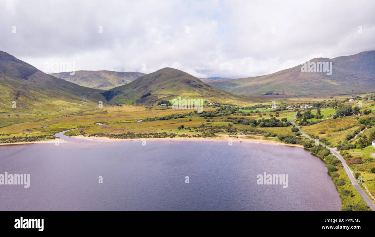 An aerial view of scenic Lough Nafooey in the Connemara area of Ireland. Stock Photo