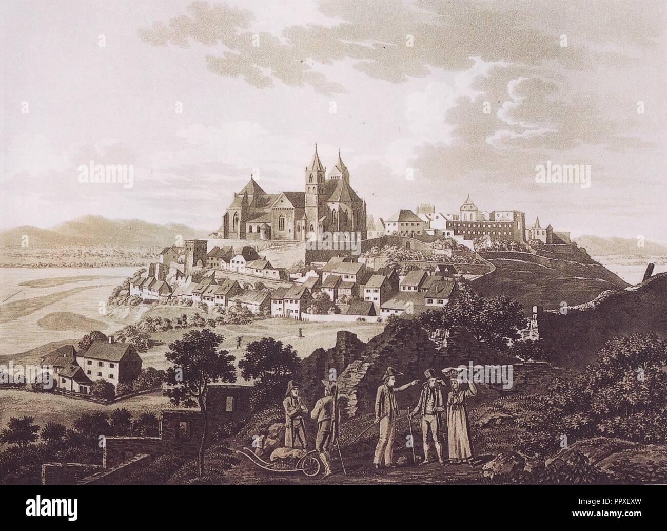 Breisacher Münster Stahlstich (Nilson). - Stock Image