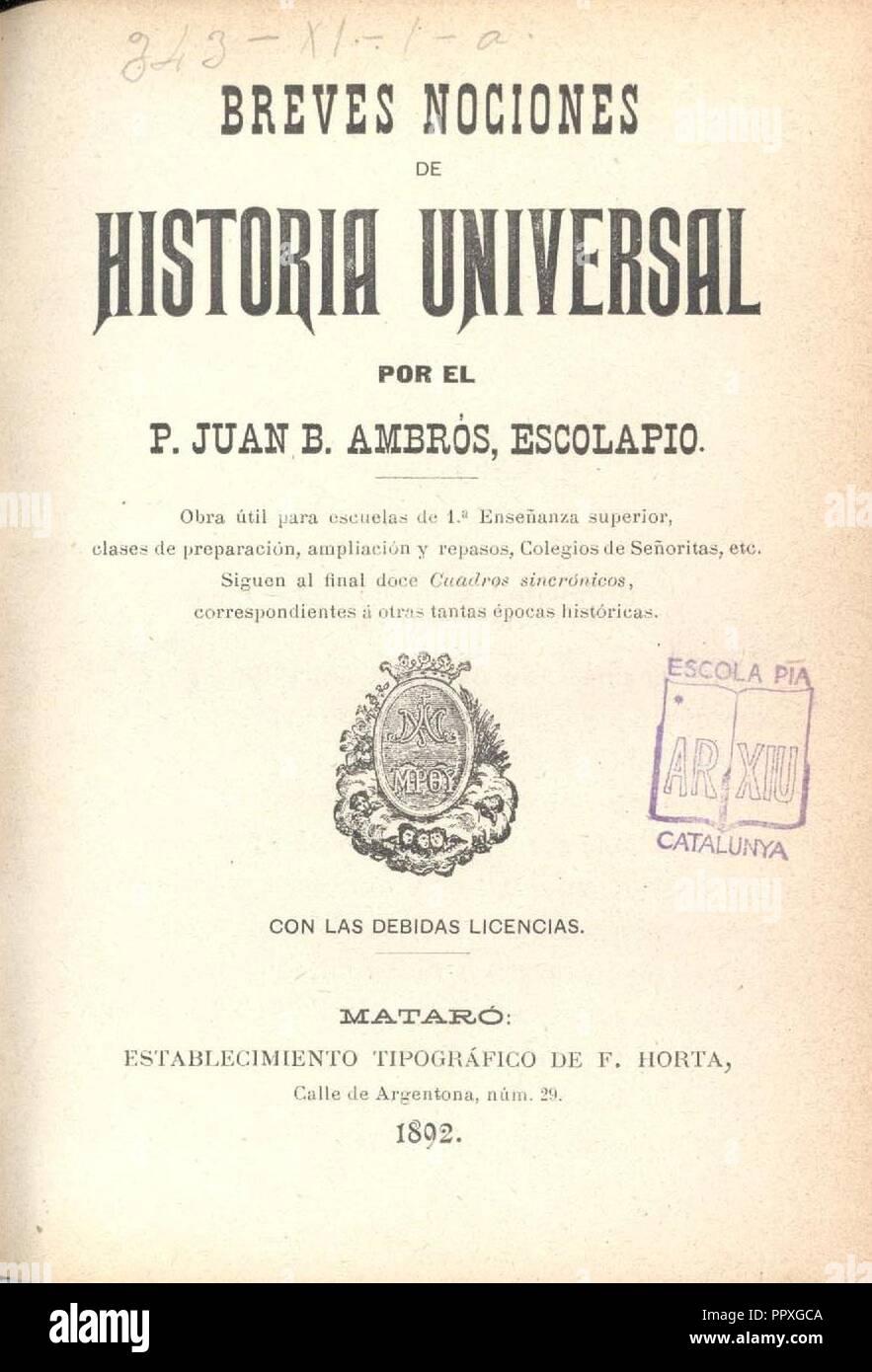 Breves noticias historia universal Ambros Vila. - Stock Image