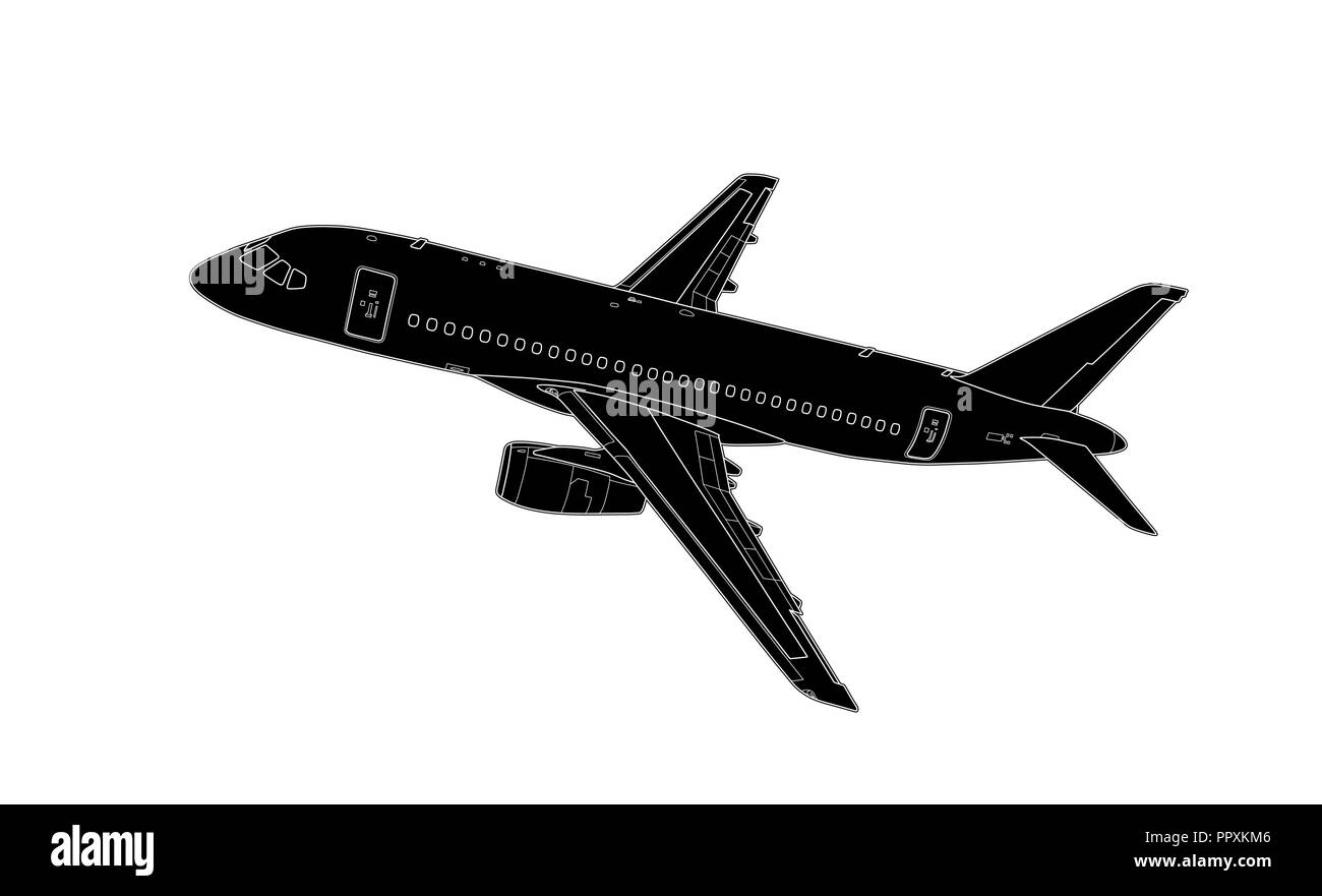 Vector illustration in style of technical drawing of modern russian airliner - Stock Image