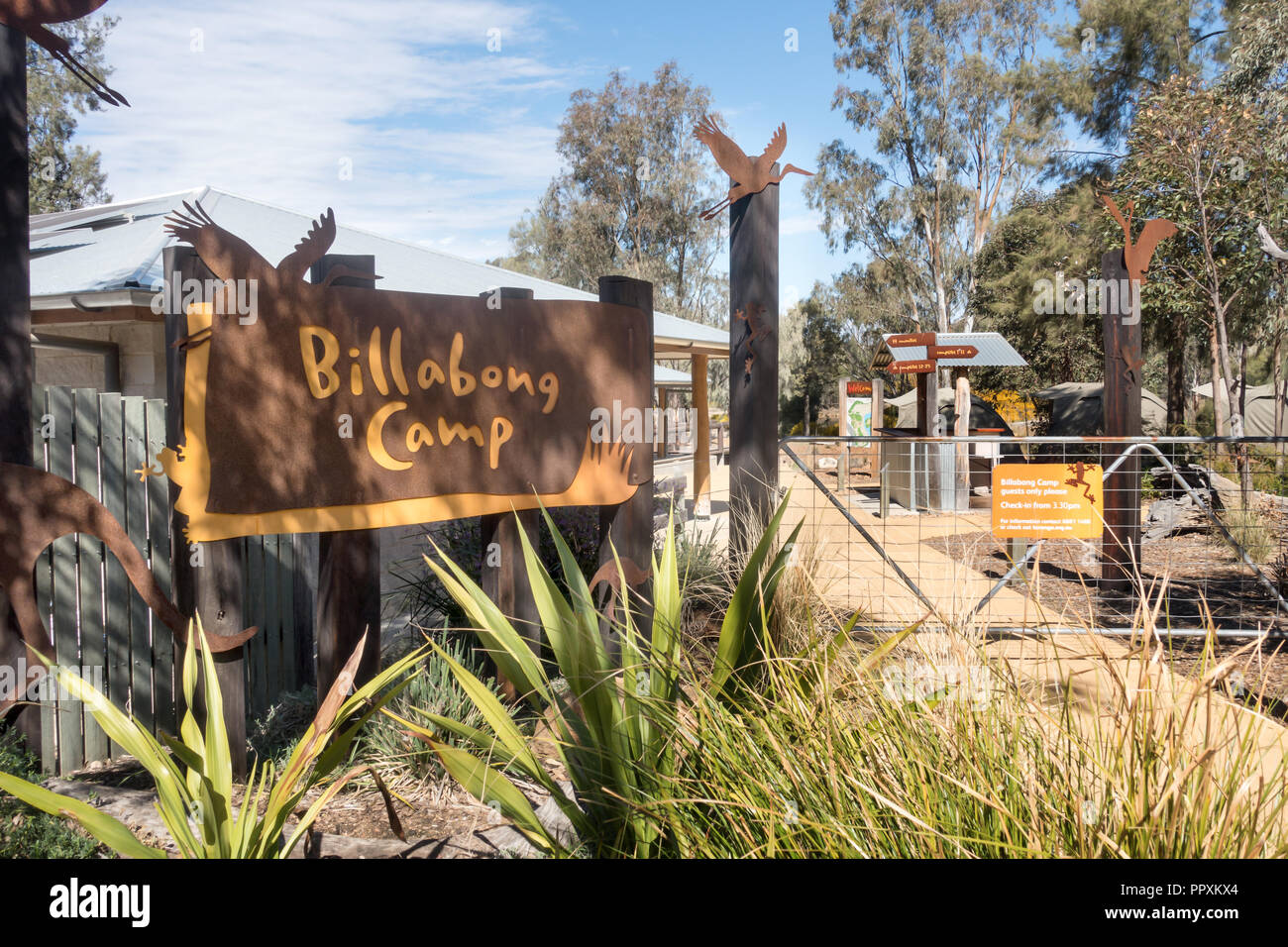 Entrance to Billabong Camping area at Dubbo Zoo NSW Australia. Stock Photo