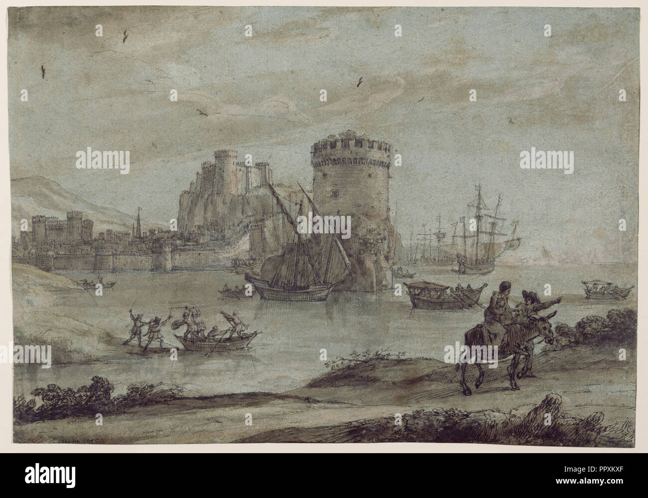 Figures in a Landscape before a Harbor; Claude Lorrain, Claude Gellée, French, 1604 or 1605 ? - 1682, France; late 1630s; Pen - Stock Image