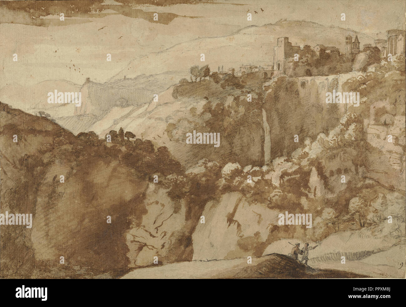 View of Tivoli, recto and verso, Claude Lorrain, Claude Gellée, French, 1604 or 1605 ? - 1682, France; 1640; Black chalk with - Stock Image