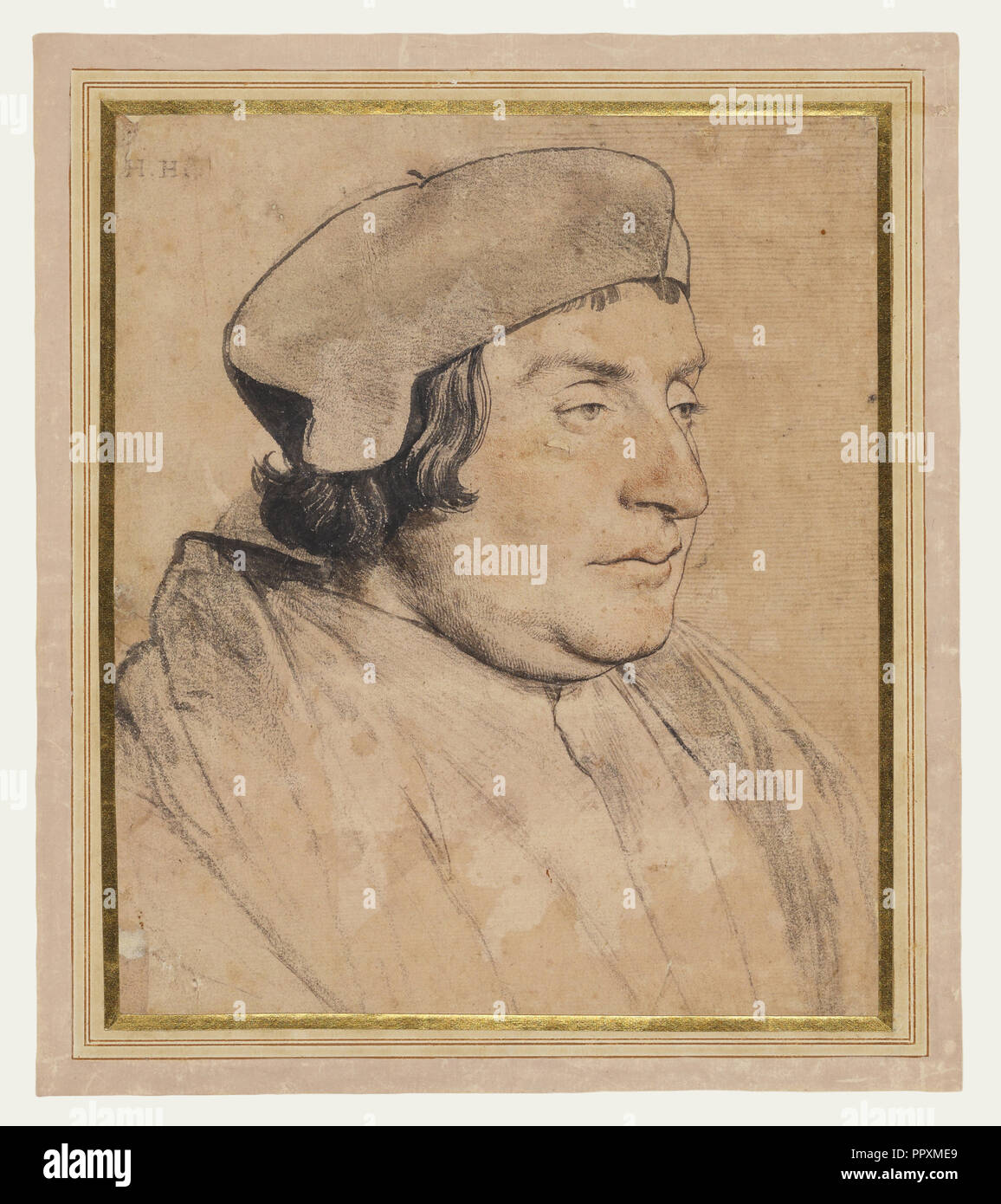 Portrait of a Scholar or Cleric; Hans Holbein the Younger, German, 1497,1498 - 1543, 1532 - 1535; Black and red chalk, pen - Stock Image