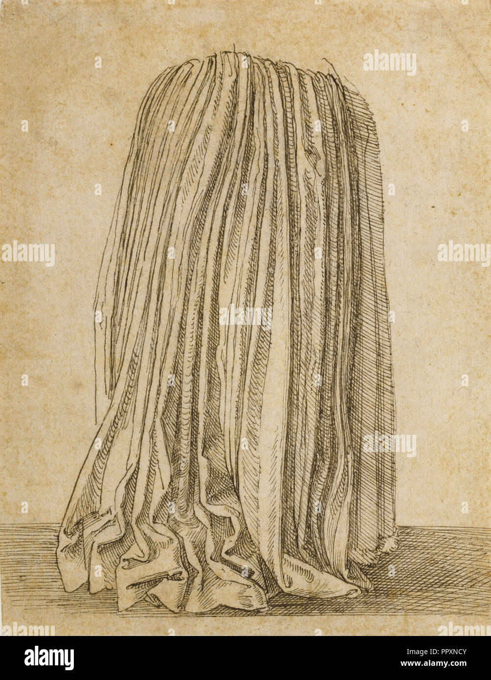 Study of a Pleated Skirt; Hans Brosamer, German, about 1500 - about 1554, about 1530 - 1540; Pen and black ink; 19.7 × 14.9 cm - Stock Image