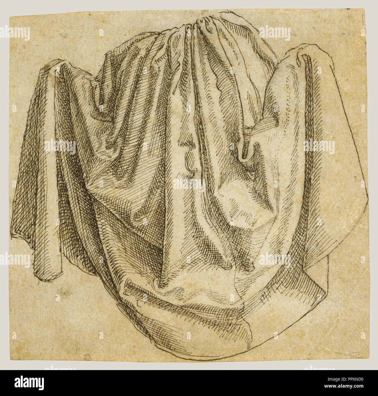 Study of a Hanging Drapery; Hans Brosamer, German, about 1500 - about 1554,  about 1530 - 1540; Pen and black ink
