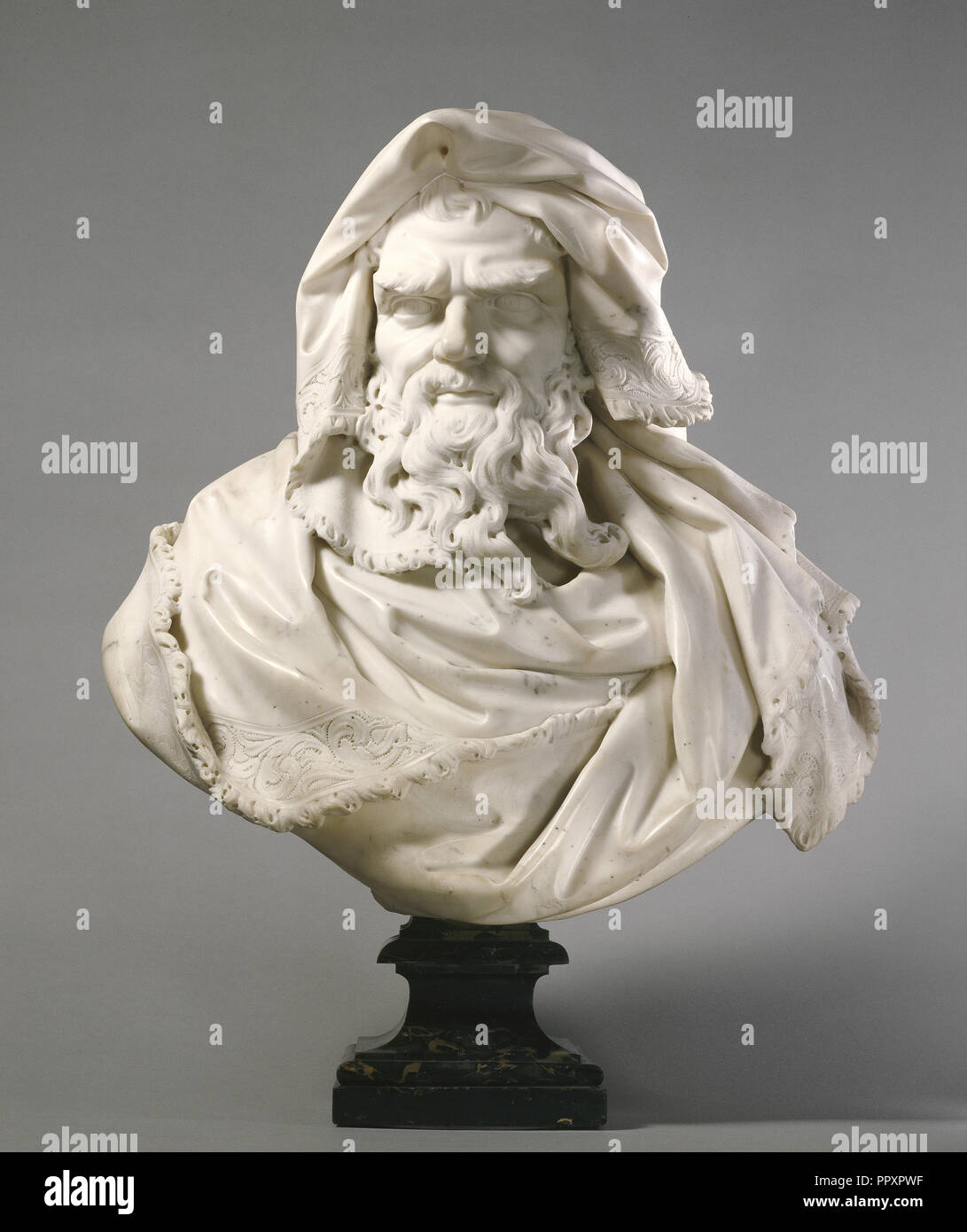 Bust of Winter; Paul Heermann, German, 1673 - 1732, first third of 18th century; Marble; 65.1 x 63.5 x 33.7 cm - Stock Image