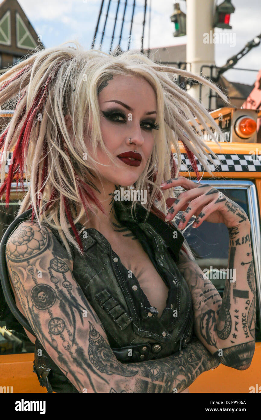 London UK 28 September 2018 Tobacco Docks is the venue for the acclaimed 14th International Tattoo Convention.The most respected and prestigious body art convention in the world,Shelly D'Inferno world famous model performer , and actress at the London International Tattoo Convention.@Paul Quezada-Neiman/Alamy live News - Stock Image