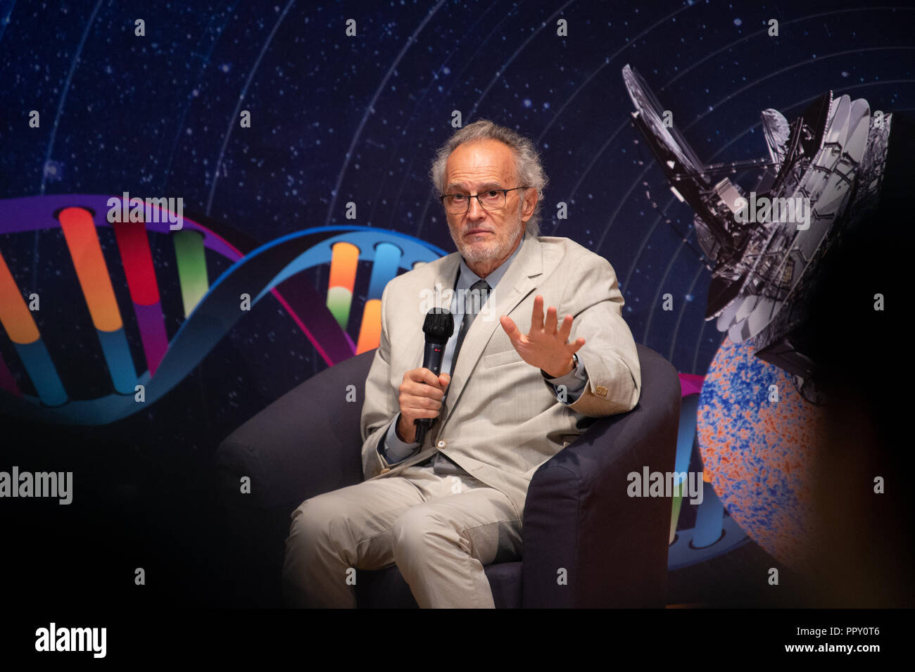 Hong Kong, . 28th Sep, 2018. Shaw Laureate in Astronomy .Dr Jean-Loup Puget (Researcher, Institut d'Astrophysique Spatiale of Centre National de la Recherche Scientifique and Université Paris-Saclay, France).2018 Shaw Laureates give a public lecture at the Hong Kong Science Museum, Tsim Sha Tsui, Kowloon. The Shaw Prize, which consists of three annual awards, namely the Prize in Astronomy, the Prize in Life Science and Medicine and the Prize in Mathematical Sciences is worth $1.2million USD to each winner. Credit: Jayne Russell/ZUMA Wire/Alamy Live News Stock Photo