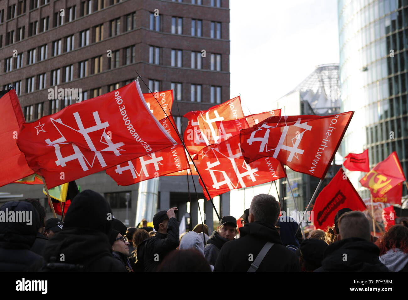 Berlin, Germany. 28th September 2018.  .Demonstration in Berlin Mitte 'Erdogan not welcome' from Potsdamer Platz to the Großen Stern. Credit: SAO Struck/Alamy Live News - Stock Image