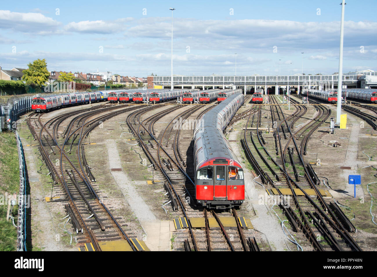 London, England, UK. 28 September, 2018.  Out of service Piccadilly Line underground trains at Boston Manor depot due to strike action by the RMT. Strike action and the 48-hour walkout is due to end today. © Jansos/ Alamy Live News. - Stock Image