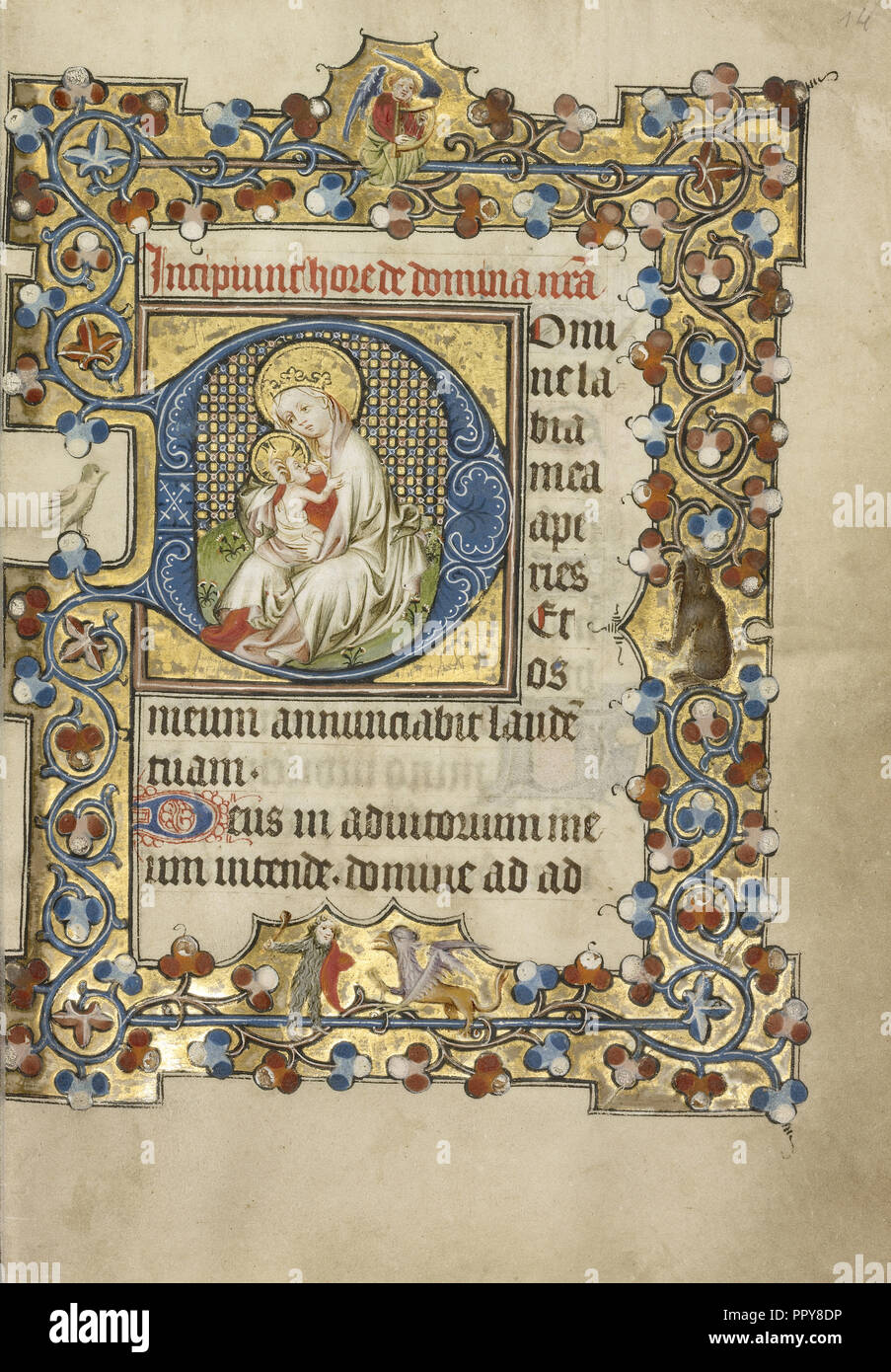 Initial D: The Virgin and Child; Masters of Dirc van Delf, Dutch, active about 1400 - about 1410, Utrecht, probably - Stock Image