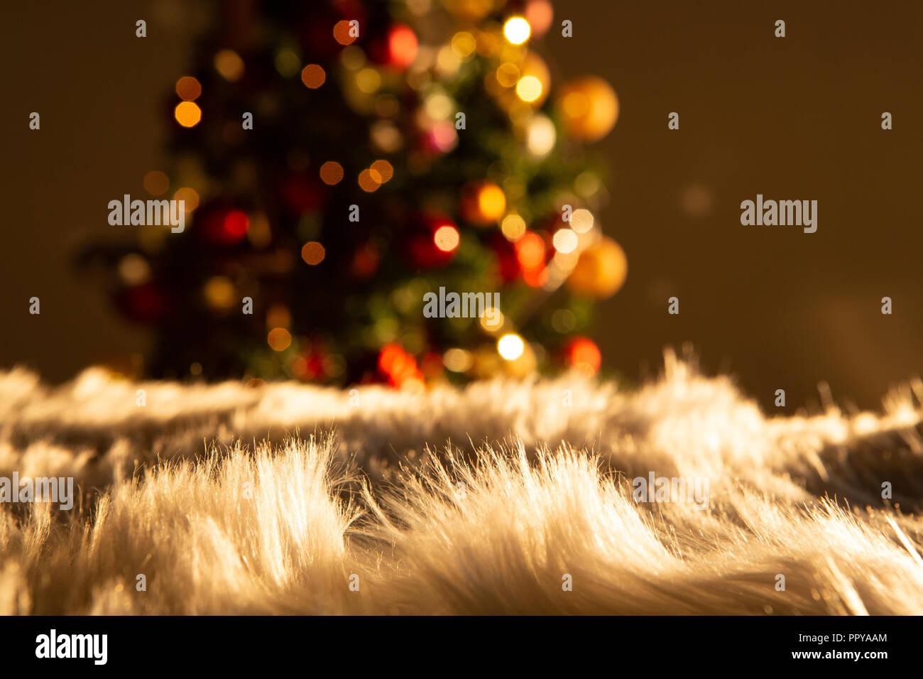 White carpet against unfocused decoration - Stock Image