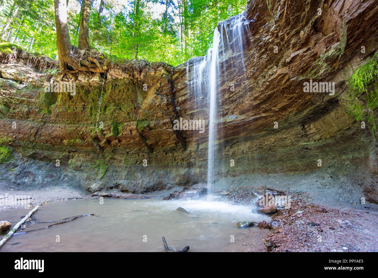 Germany, Hoerschbach waterfall in green forest - Stock Image