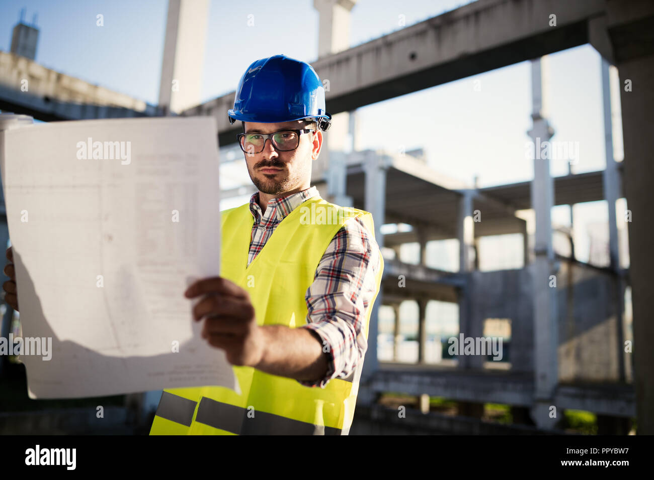 Construction foreman on the job site - Stock Image