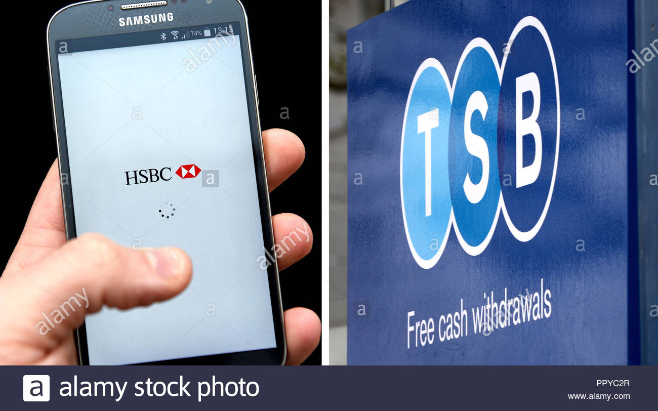 File photos of a HSBC banking phone app and a TSB sign, as