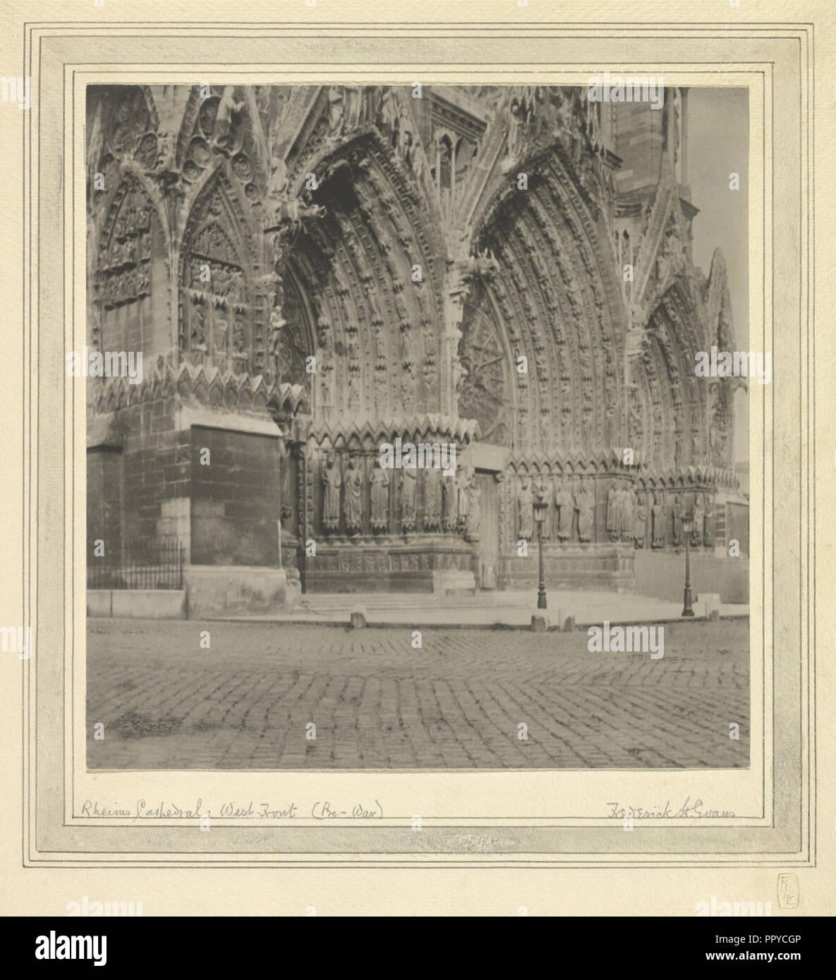 Rheims Cathedral: West-Front, Pre-War; Frederick H. Evans, British, 1853 - 1943, 1899; Platinum print; 24.8 x 24.1 cm - Stock Image