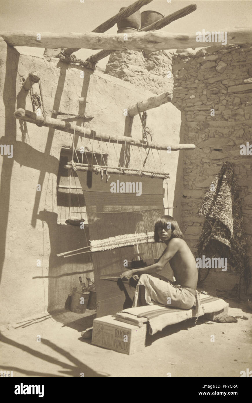 Hopi Blanket Maker; A.C. Vroman, American, 1856 - 1916, 1899 - 1902; Platinum print; 20 x 13.7 cm 7 7,8 x 5 3,8 in - Stock Image