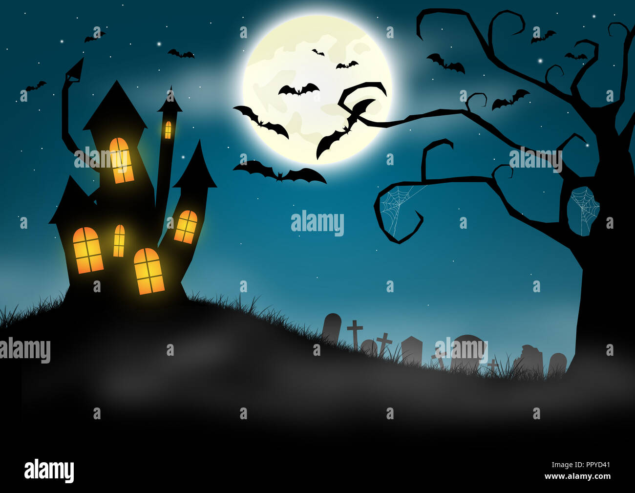 Halloween background with haunted castle and graveyard - Stock Image
