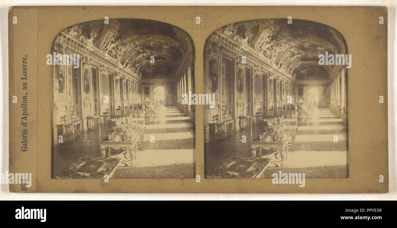 Galerie d'Apollon, au Louvre; F. Grau, G.A.F., French, active 1850s - 1860s, 1855 - 1865; Hand-colored Albumen silver print - Stock Image