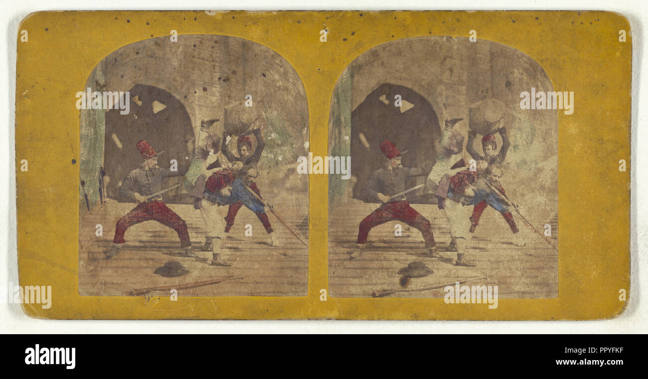 Genre scene: men fighting; about 1860; Hand-colored Albumen silver print - Stock Image