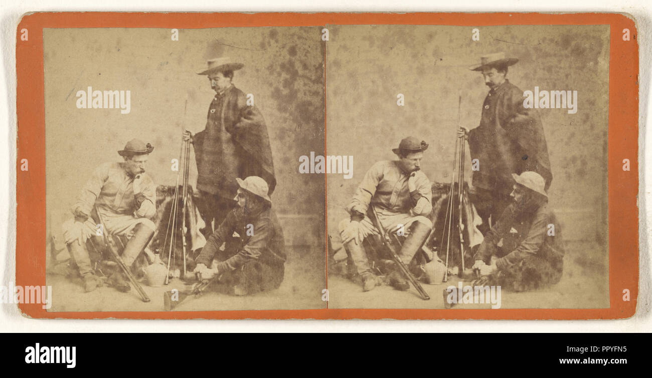 Genre: three men with hats, posed with guns; about 1865; Albumen silver print - Stock Image