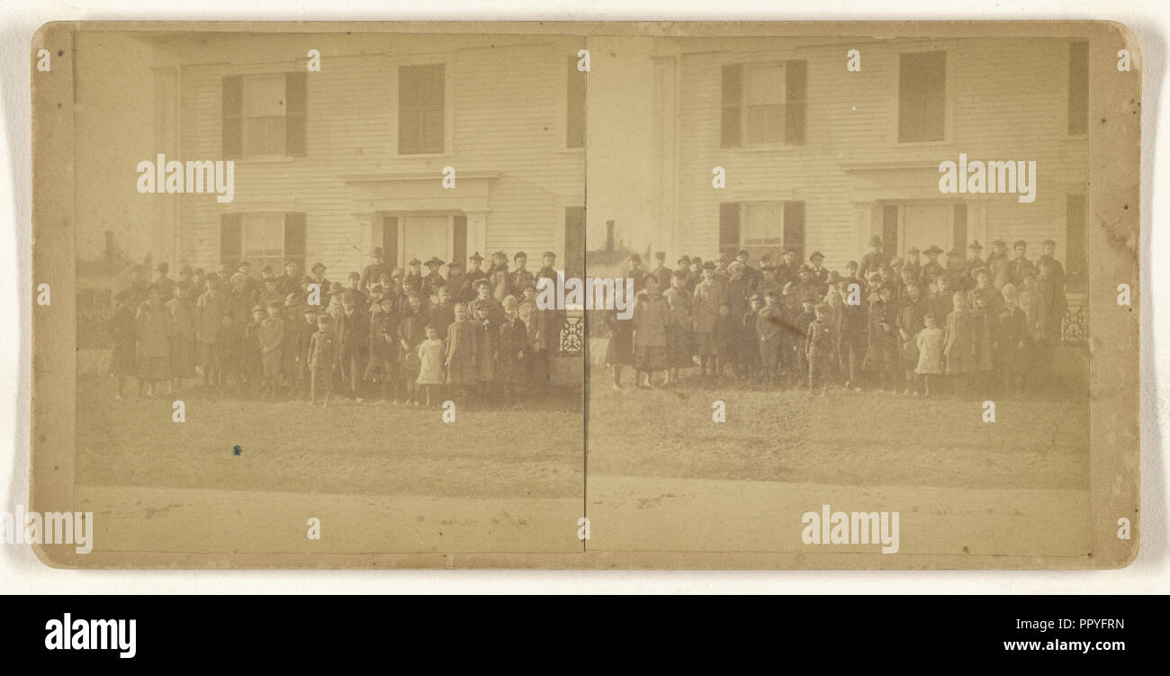 Group of school children posed outside; American; about 1870; Albumen silver print - Stock Image