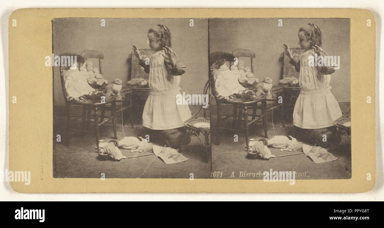 A Disturbance in School; about 1890; Collotype - Stock Image