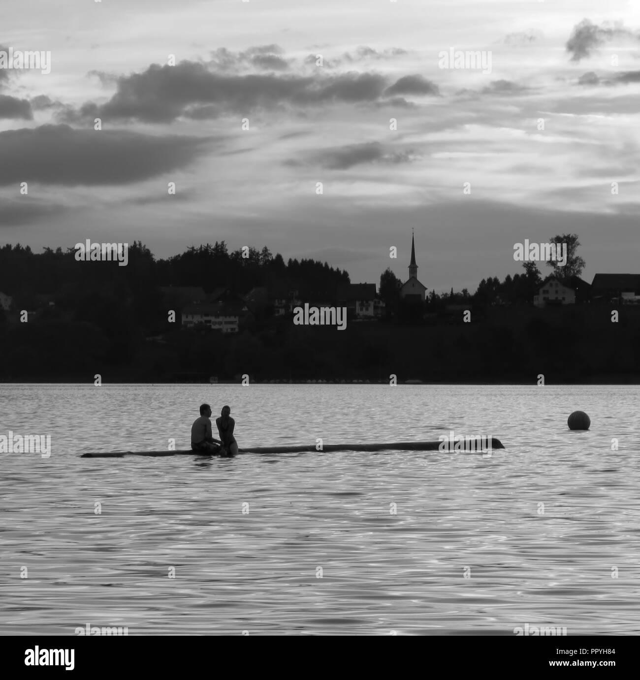 Evening scene at Lake Pfäffikon, Zürich. - Stock Image