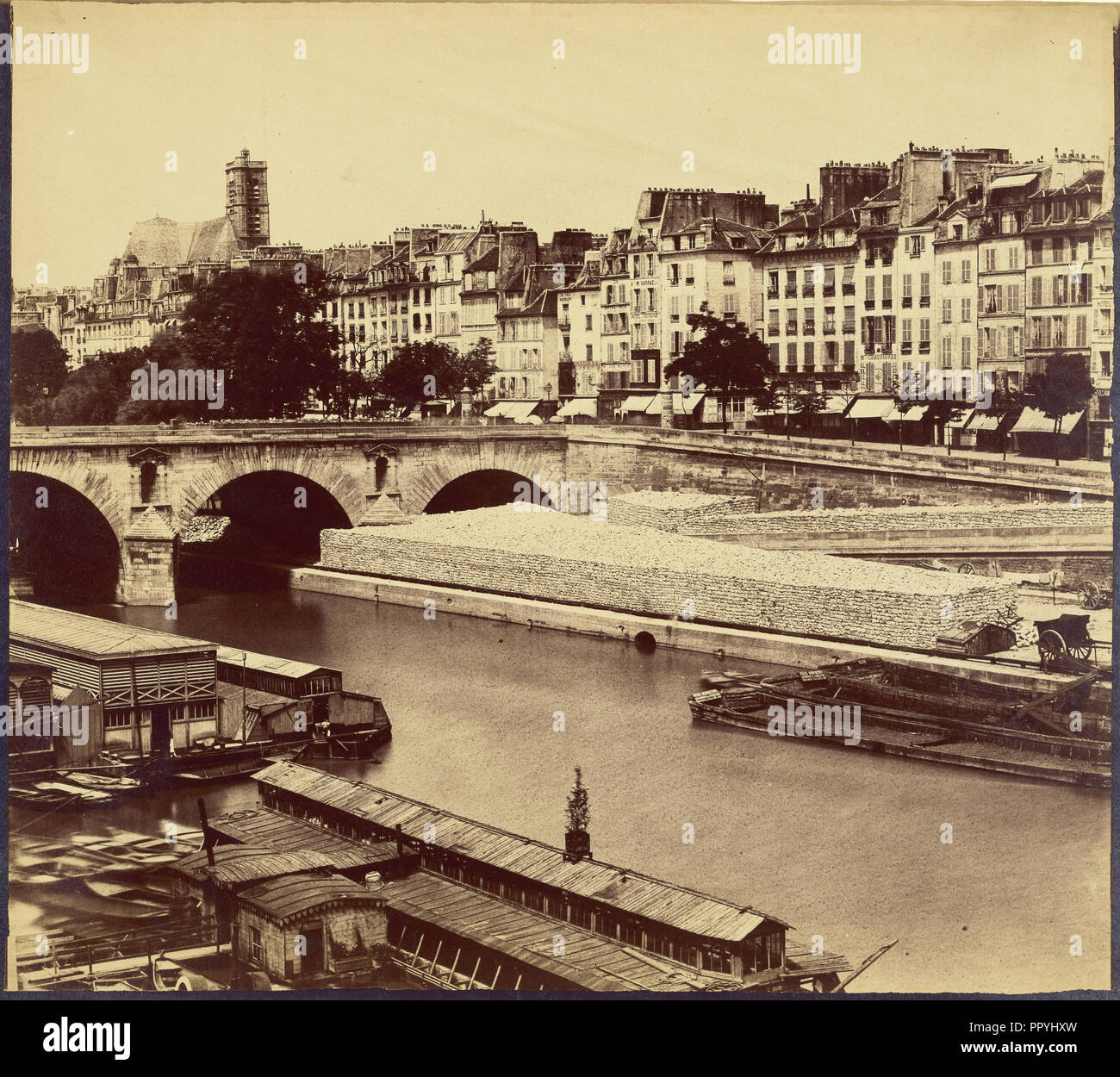 Le Pont Marie, et les quais des Celestins, vus du quai d'Anjou; Charles Nègre, French, 1820 - 1880, about 1859; Albumen silver - Stock Image