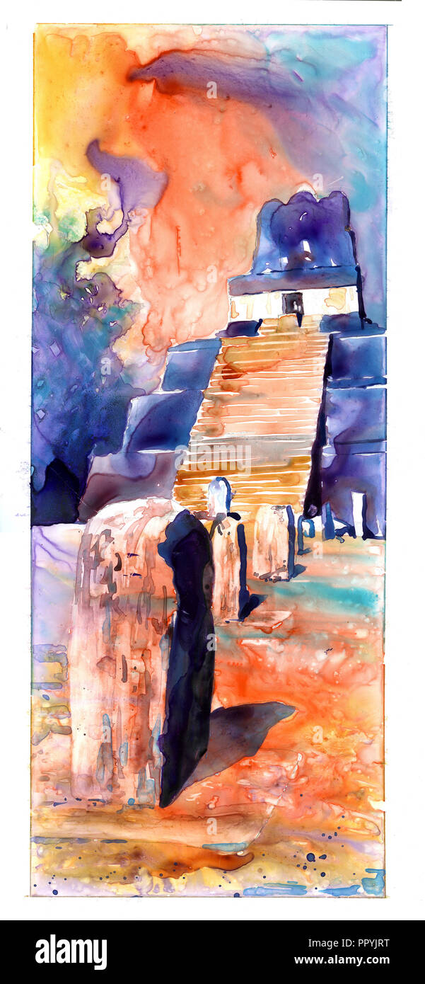 Watercolor painting of Mayan temple and stelae at UNESCO World Heritage ruins of Tikal- Guatemala. - Stock Image