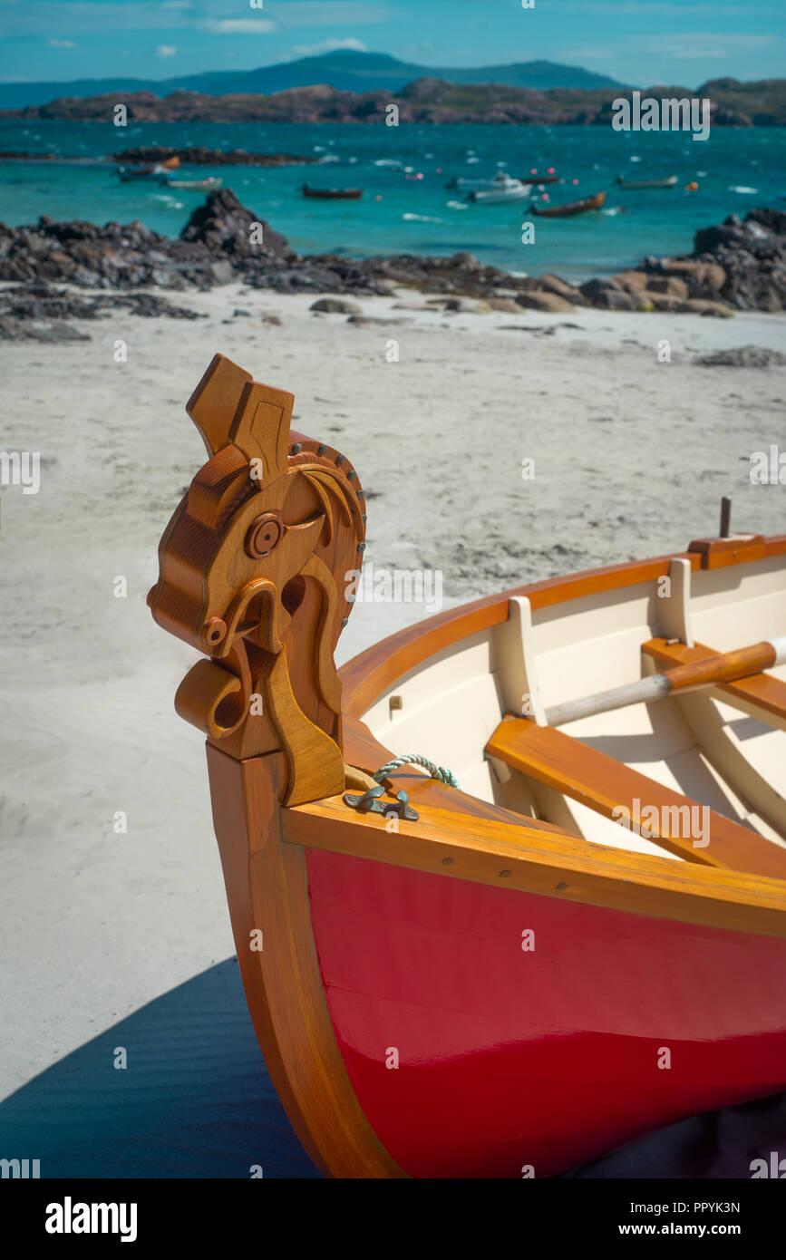 Carved Celtic Horse Design on Wooden Skiff, Inner Hebrides, Scotland - Stock Image