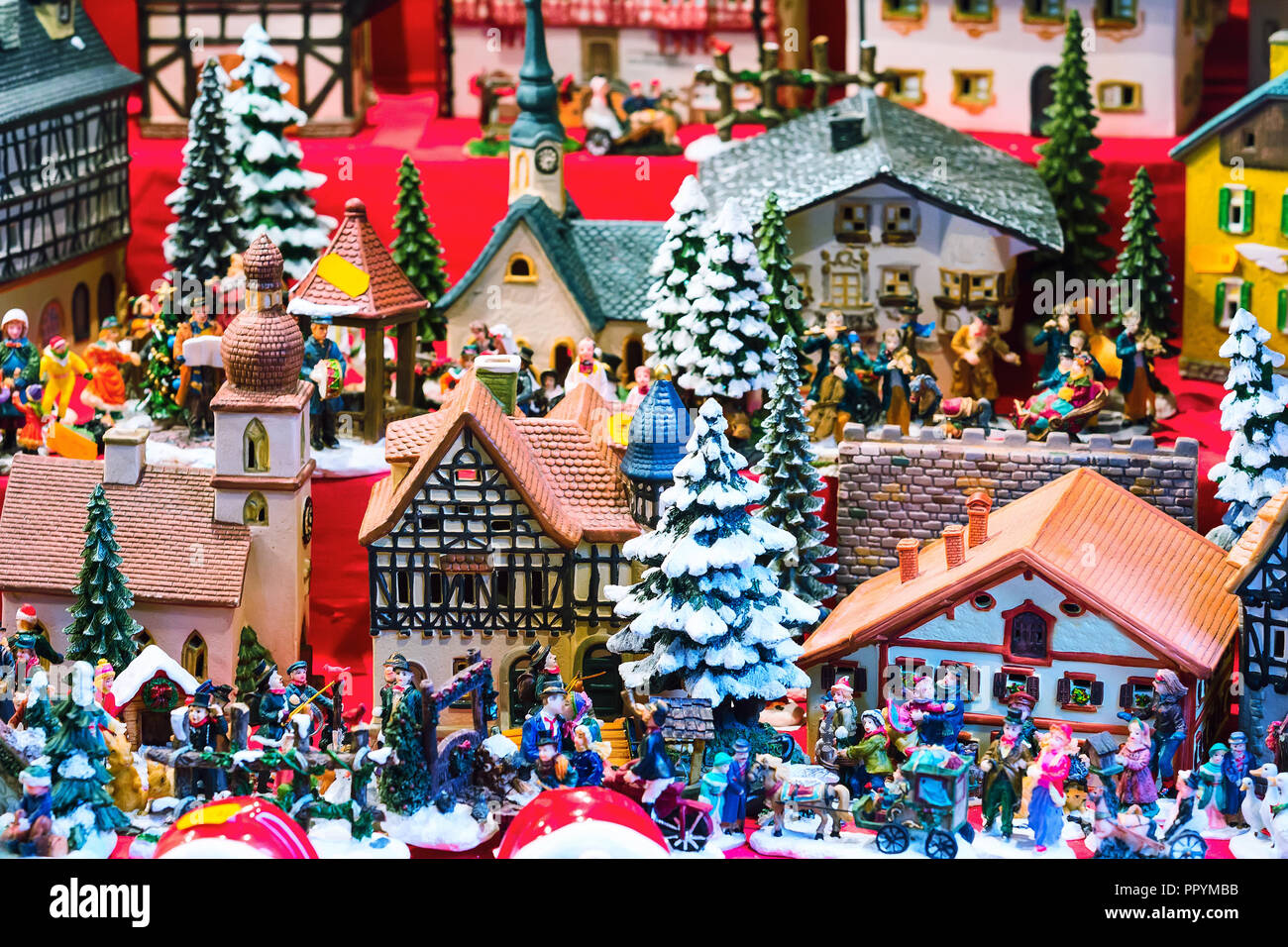 European Christmas market fair stall with different traditional ...