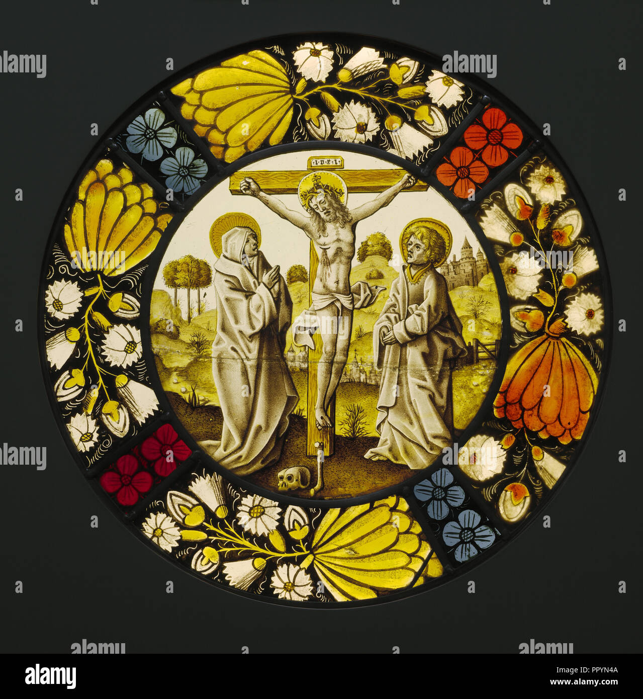 The Crucifixion; Netherlandish; South Netherlands; about 1490 - 1500; Pot-metal and colorless glass, vitreous paint, and silver - Stock Image