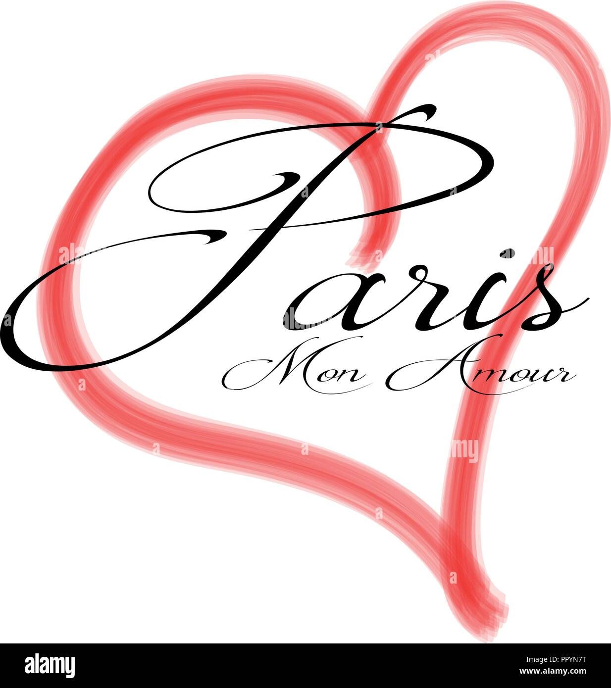 Paris Mon Amour in a red heart - Vector - Stock Image