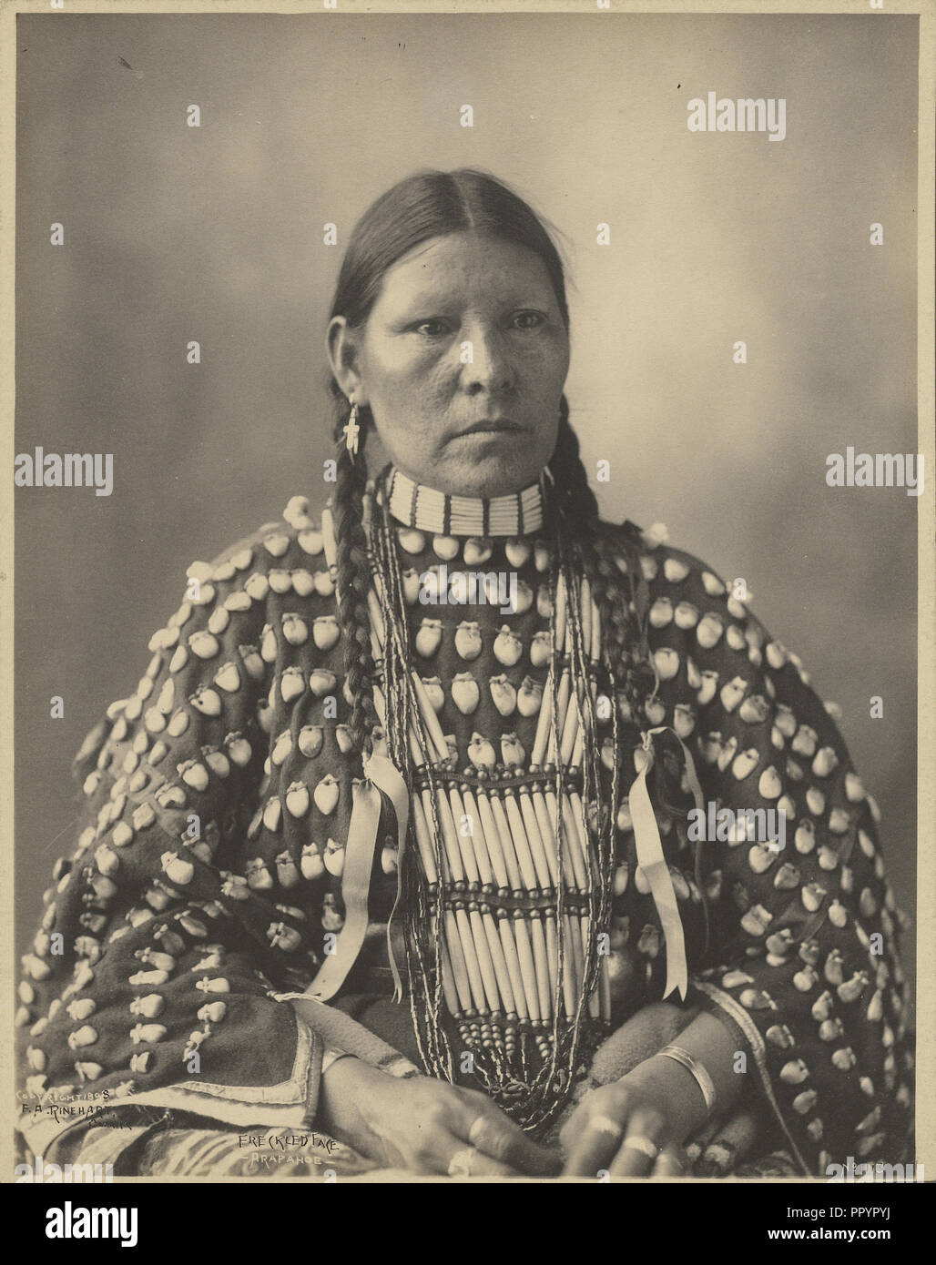 Freckled Face, Arapahoe; Adolph F. Muhr, American, died 1913, Frank A. Rinehart, American, 1861 - 1928, 1898; Platinum print - Stock Image
