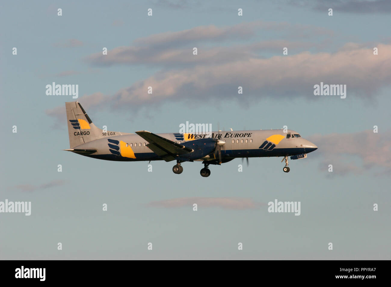 West Air Europe British Aerospace BAe ATP landing at London Stansted airport. - Stock Image