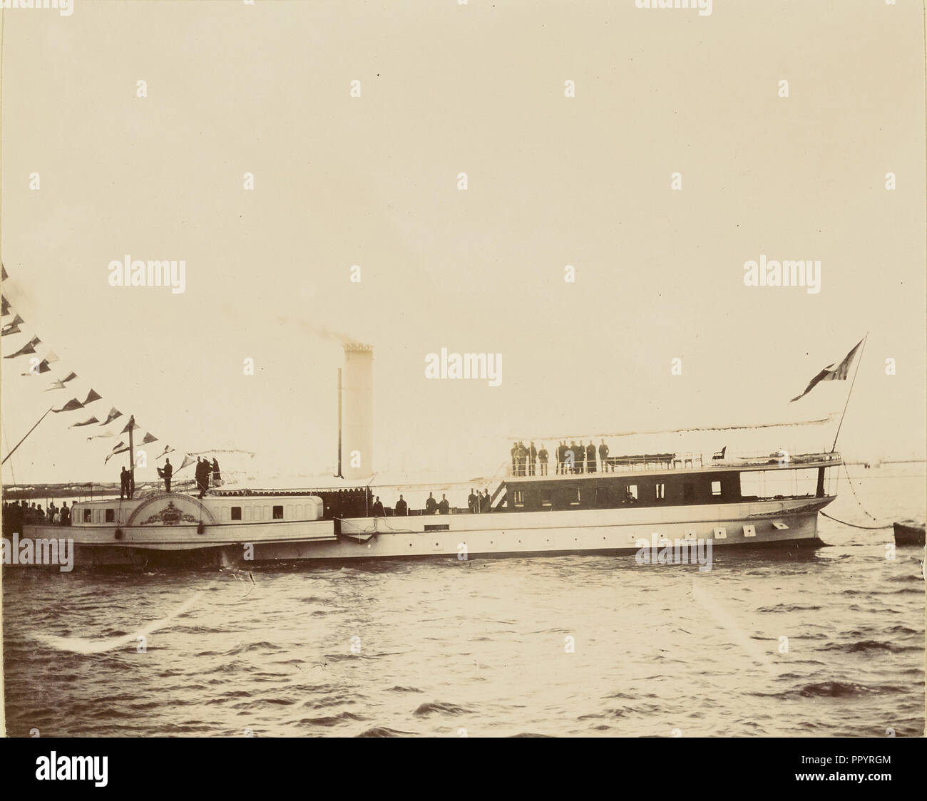 Barge; about 1860 - 1880; Tinted Albumen silver print - Stock Image