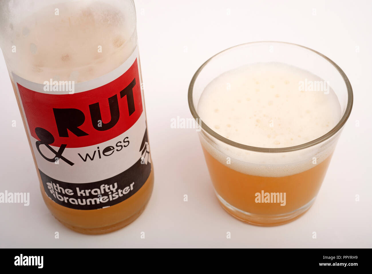 Rut and Wiess the crafty braumeister German beer - Stock Image