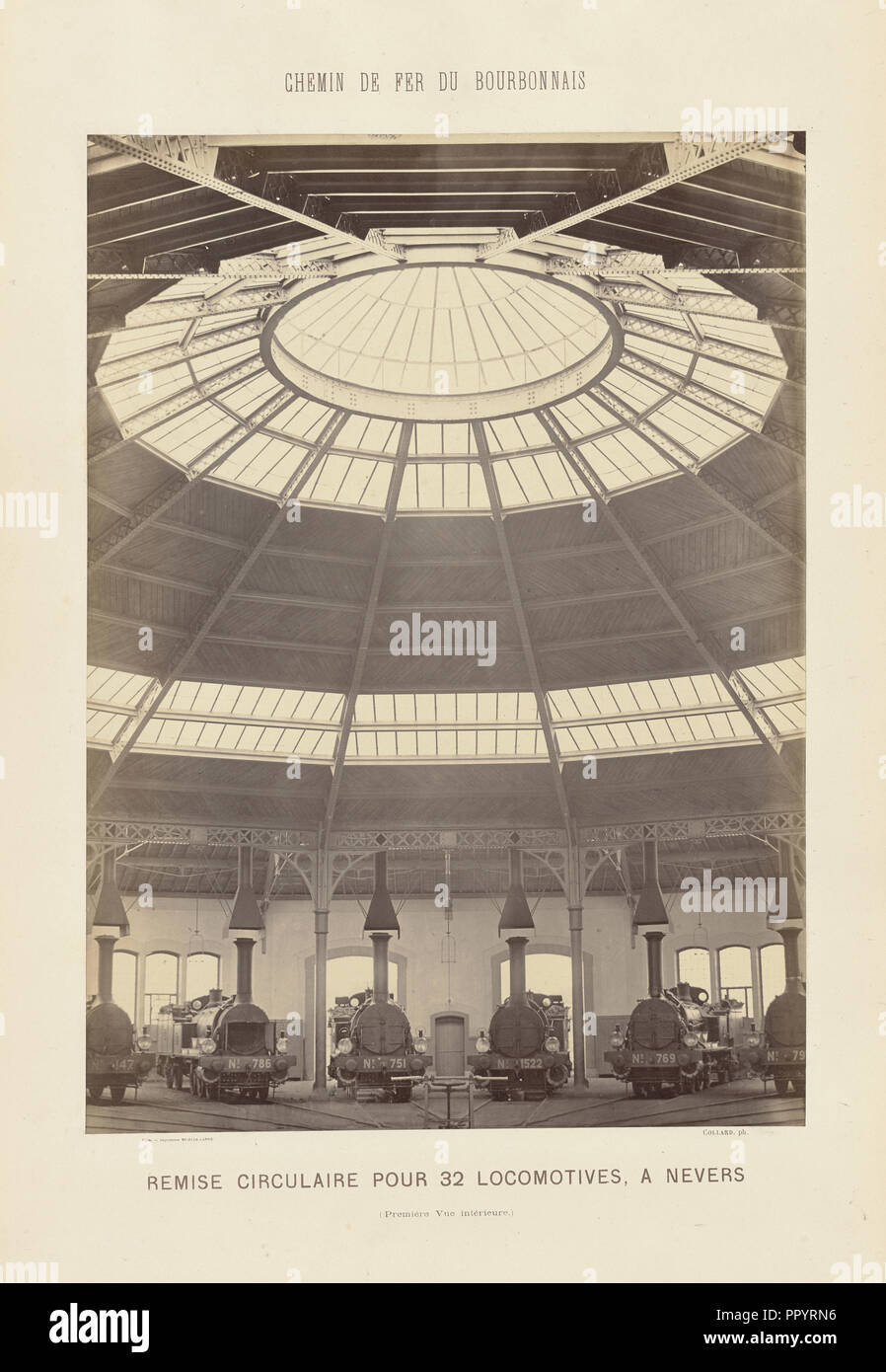Roundhouse, Nevers, Bourbonnais Railway; Auguste Hippolyte Collard, French, 1812 - 1885,1897, Nevers, France; about 1860–1863 Stock Photo