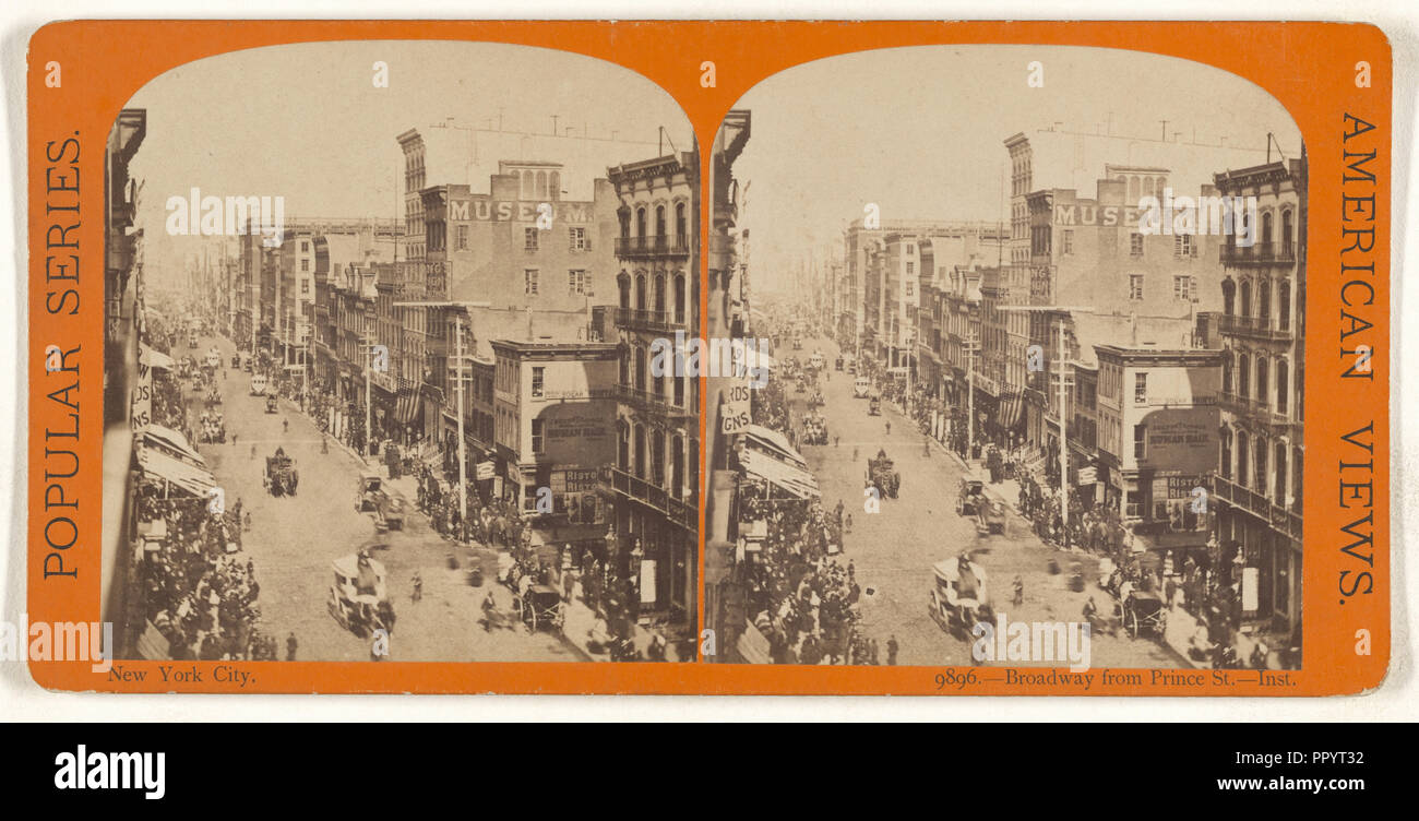 New York City. Broadway from Prince St. - Inst; American; about 1869 - 1873; Albumen silver print - Stock Image