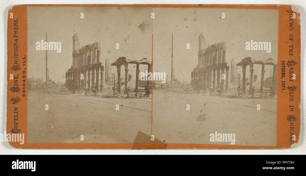 Great Fire in Chicago, October 9th, 1871.  ruins; Copelin & Hine; October 9, 1871; Albumen silver print - Stock Image