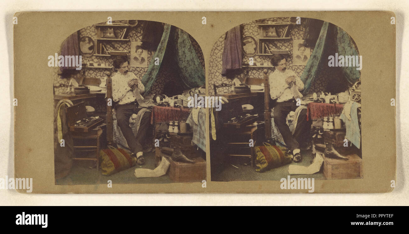 Bachelor Life; Attributed to J. Eastlake, British, active 1850s - 1860s, about 1860; Hand-colored Albumen silver print - Stock Image