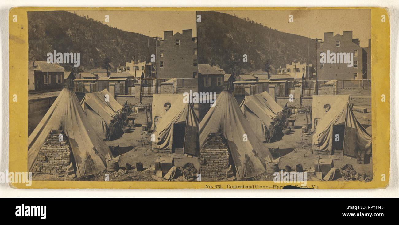 Contraband Camp - Harper's Ferry, Va; John P. Soule, American, 1827 - 1904, 1865; Albumen silver print - Stock Image