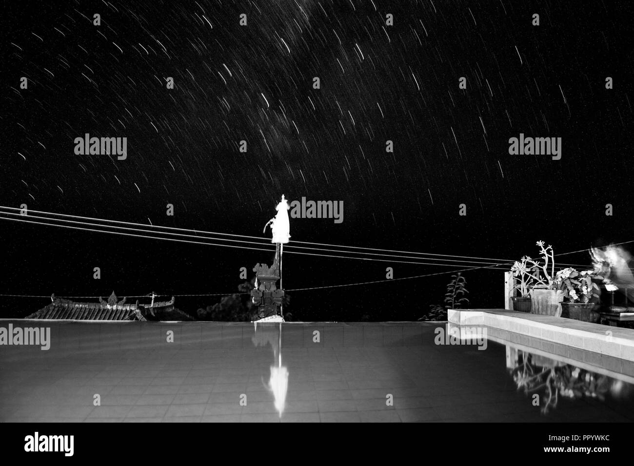 Landscape of the milky way in black and white - Stock Image
