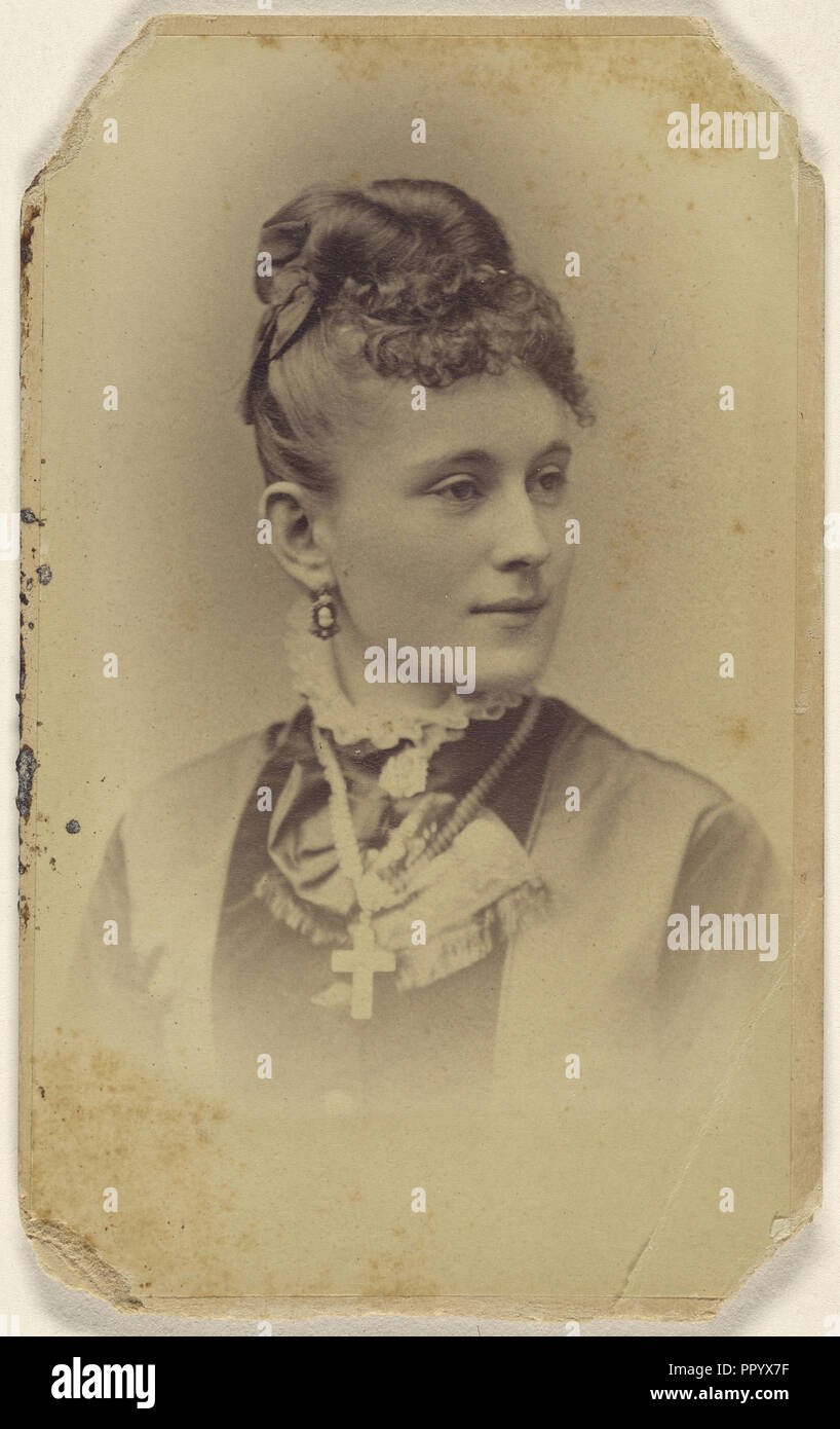 Woman With Her Hair In A Bun Crucifix Around Her Neck Printed In
