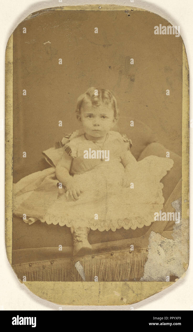 infant girl, seated; Gustav A. Flach, American, active 1860s, about 1880; Albumen silver print - Stock Image