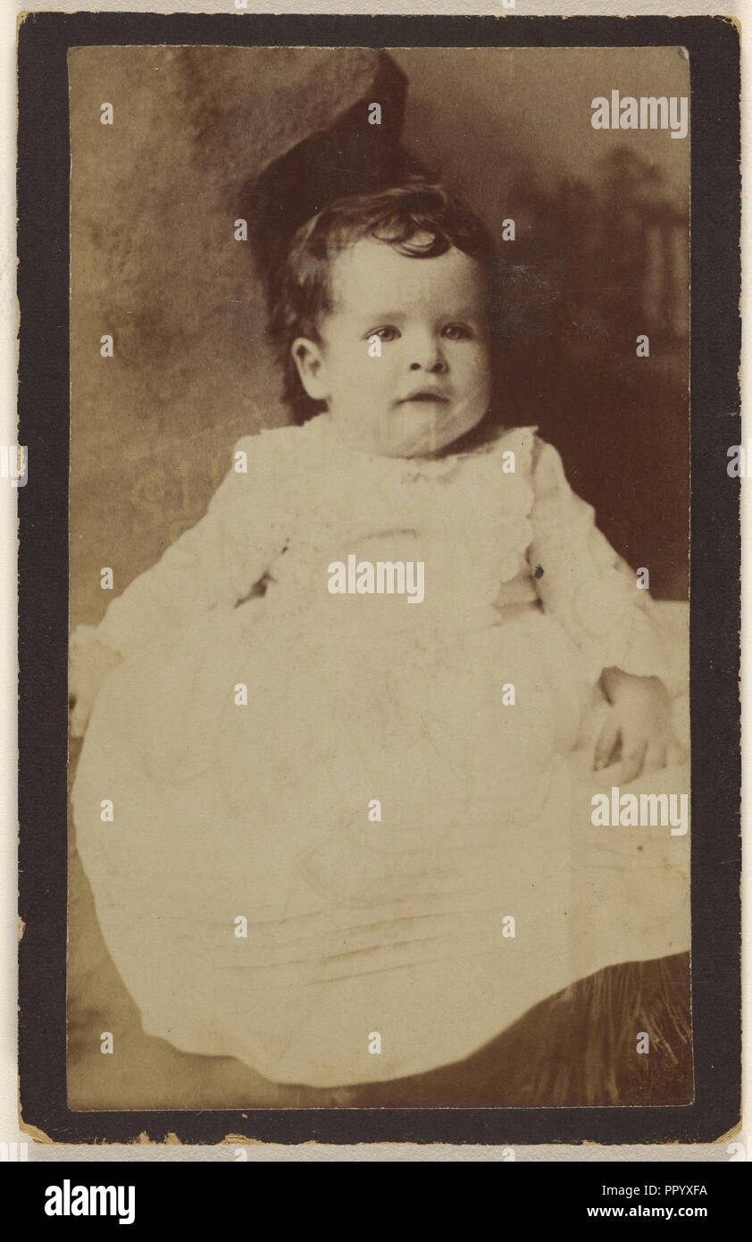 baby, seated; Gustav A. Flach, American, active 1860s, about 1880; Albumen silver print - Stock Image