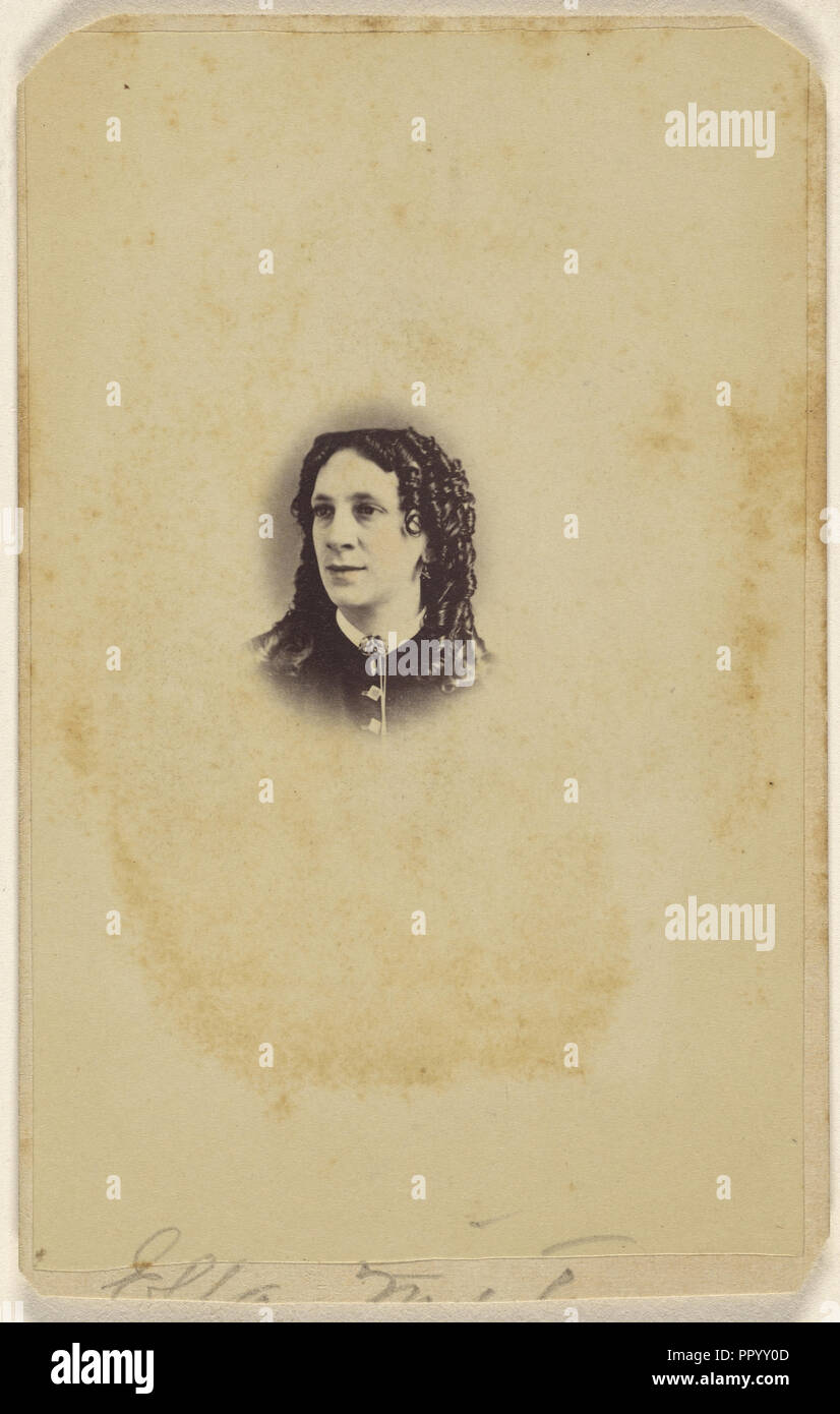 Ella - woman with long curls; James S. Woodley, American, active 1860s, 1865 - 1875; Albumen silver print Stock Photo