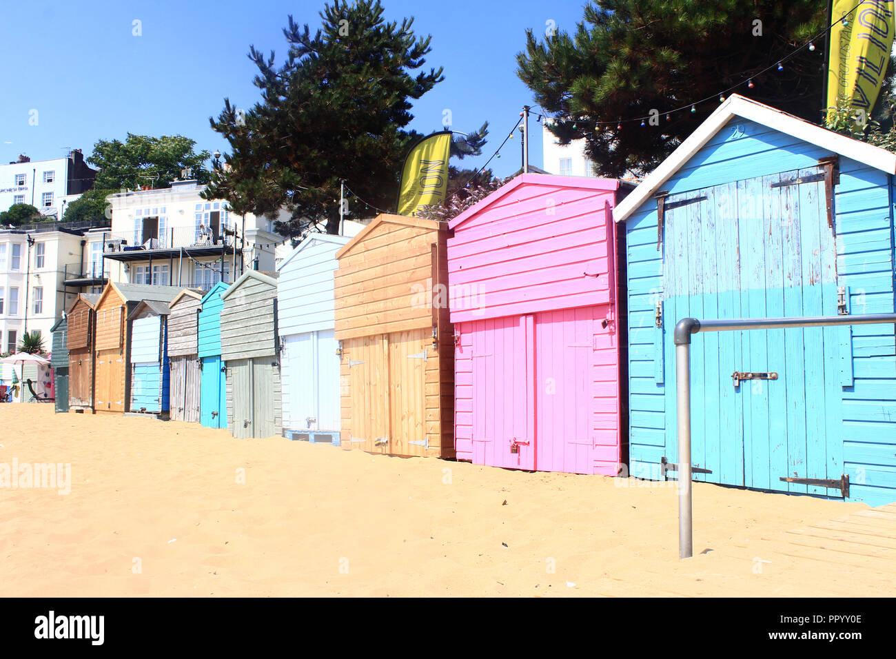 Beach huts at Viking Bay, Broadstairs in UK - Stock Image